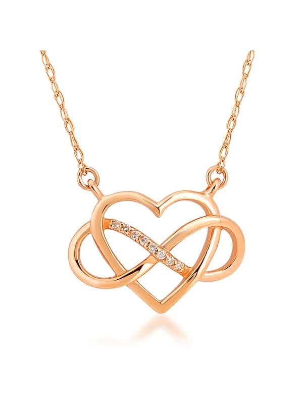 14ct Gold Diamond Infinity Heart Necklace