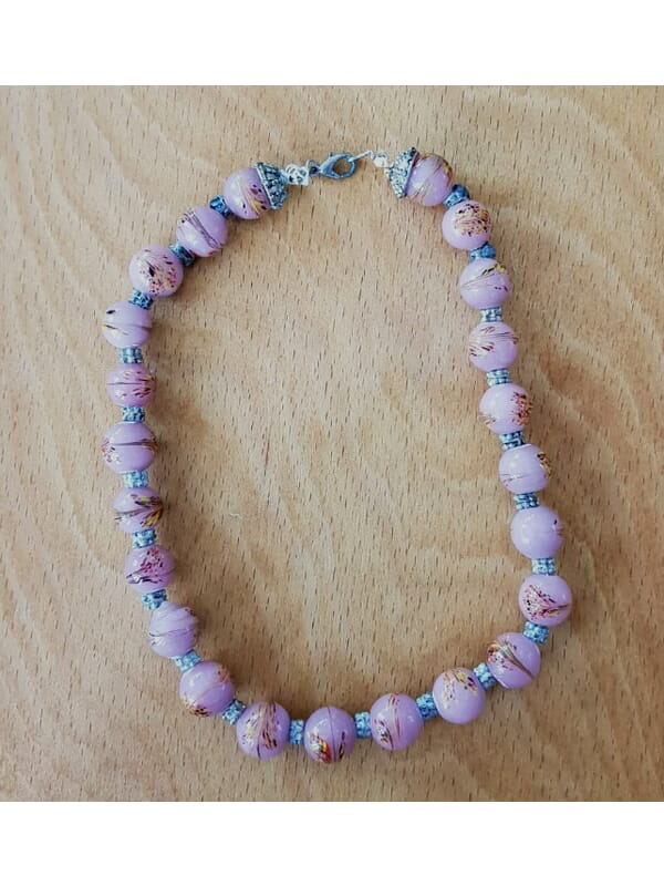 Pink Natural  Stone Vintage Necklace